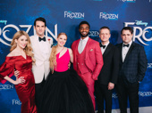 The gang's all here! Frozen's Caissie Levy, John Riddle, Patti Murin, Jelani Alladin, director Michael Grandage and Greg Hildreth enjoy their opening night.