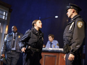 Brian Tyree Henry as William, Bel Powley as Dawn, Michael Cera as Jeff and Chris Evans as Bill in Lobby Hero.