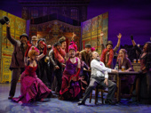 Norbert Leo Butz as Alfred P. Doolittle and the cast of My Fair Lady.