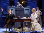 Peter McDonald as James Joyce, Tom Hollander as Henry Carr, Scarlett Strallen as Gwendolen and Sara Topham as Cecily in Travesties.