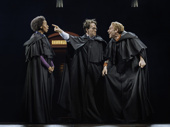 Noma Dumezweni as Hermione Granger, Jamie Parker as Harry Potter and Paul Thornley as Ron Weasley in Harry Potter and the Cursed Child.