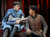 Adam Chanler-Berat as Dauphin and Condola Rashad as Joan in Saint Joan.