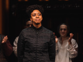 Condola Rashad takes a bow after her opening night performance in Saint Joan.
