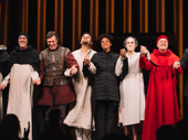 The cast of Saint Joan take their opening bow.