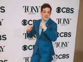 SpongeBob SquarePants Tony nominee Ethan Slater jumps for joy.