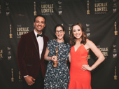 Mary Jane director and Lortel winner Anne Kauffman poses with presenters Ari'el Stachel of The Band's Visit and Erika Henningsen of Mean Girls.