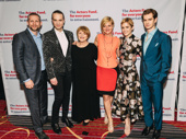 Angels in America producers Tim Levy, Jordan Roth, cast member Susan Brown, director Marianne Elliott and cast members Denise Gough and Andrew Garfield huddle up.