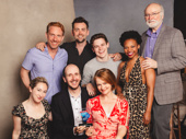 Harry Potter and the Cursed Child's Paul Thornley, Alex Price, Sam Clemmett, Susan Heyward, Edward James Hyland, Jessie Fisher, playwright Jack Thorne and Poppy Miller celebrate the play's BACA win.