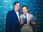 SpongeBob SquarePants star Ethan Slater shows off his awards for Favorite Leading Actor in a Musical and Favorite Breakthrough Performance with John Gore.