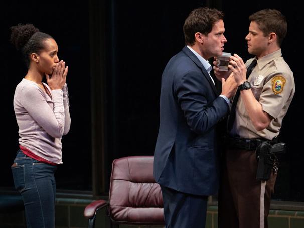 Kerry Washington as Kendra Ellis-Connor, Steven Pasquale as Scott Connor and Jeremy Jordan as Officer Paul Larkin in American Son.