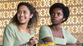 Joanna A. Jones as Ericka and MaameYaa Boafo as Paulina in School Girls; Or, The African Mean Girls Play.