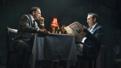 Jonny Lee Miller as Larry Lamb and Bertie Carvel as Rupert Murdoch in Ink.