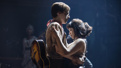 Reeve Carney as Orpheus and Eva Noblezada as Eurydice in Hadestown.