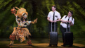 Destinee Rea as Mrs. Brown, Dave Thomas Brown as Elder Price and Cody Jamison Strand as Elder Cunningham in The Book of Mormon.