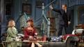 Kristine Nielsen as Monica Reed, Kate Burton as Liz Essendine and Kevin Kline as Garry Essendine in Present Laughter.