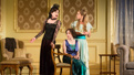 Elizabeth McGovern as Mrs. Conway, Brooke Bloom as Madge and Charlotte Perry as Kay in Time and the Conways.