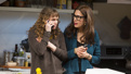 Sally Murphy as Ginnie Peters and Jessica Hecht as Sherri Rosen-Mason in Admissions.