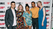 Happy opening! Fire in Dreamland's Enver Gjokaj, playwright Rinne Groff, Kyle Beltran, Rebecca Naomi Jones and director Marissa Wolf get together.