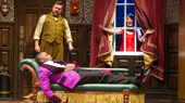Peyton Crim, Yaegel T. Welch & Jamie Ann Romero in The Play That Goes Wrong