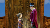 Henry Boshart as Charlie Bucket & Noah Weisberg as Willy Wonka in the national tour of Roald Dahl's Charlie and the Chocolate Factory