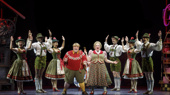 Matt Wood as Augustus Gloop, Kathy Fitzgerald as Mrs. Gloop & the company of the national tour of Roald Dahl's Charlie and the Chocolate Factory