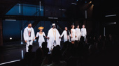 The cast of Good Grief takes their opening night bows.