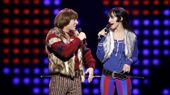 Jarrod Spector as Sonny Bono and Micaela Diamond as Babe in The Cher Show.