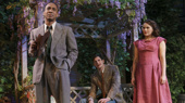 Hampton Fluker as George Deever, Benjamin Walker as Chris Keller and Francesca Carpanini as Ann Deever in All My Sons.