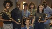 Hadestown - chorus members with the Outstanding Broadway Chorus Award - standing: Kimberly Marable, Ahmad Simmons, Khaila Wilcoxon, Afra Hines, Jessie Shelton and Malcolm Armwood. Kneeling: John Krause - 06/2019 - Actors' Equity Association