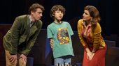 Christian Borle as Marvin, Anthony Rosenthal as Jason and Stephanie J. Block as Trina in Falsettos.