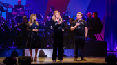 """A golden trio! Sarah Jessica Parker, Victoria Clark and Matthew Broderick  perform """"Been A Long Day"""" from How to Succeed in Business Without Really Trying.(Photo: Adam Schultz)"""