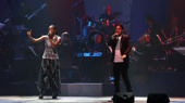 """Rock the vote? More like rap the vote! Renée Elise Goldsberry and Lin-Manuel Miranda re-vamp """"The World Was Wide Enough"""" intro from Hamilton.(Photo: Justin Sullivan/Getty Images)"""