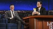 Stephen Colbert Gives Finn Wittrock a Kiss for Sally Field