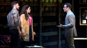 Mauricio Martinez as Emilio Estefan, Christie Prades as Gloria Estefan and Devon Goffman as Phil in the national tour of On Your Feet.