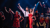 Bravo! Mauricio Martinez, Christie Prades and the national tour company of On Your Feet! take their opening night curtain call.