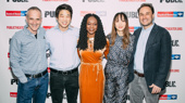 Director Neel Keller and OFFICE HOUR company members Ki Hong lee, Adeola Role, Sue Jean Kim, and Greg Keller at the opening night of OFFICE HOU