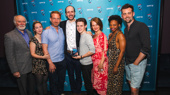 Harry Potter and the Cursed Child's Edward James Hyland, Jessie Fisher, Paul Thornley, playwright Jack Thorne, Sam Clemmett, Poppy Miller, Susan Heyward and Alex Price take the perfect group shot in honor of their Favorite New Play award.
