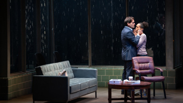 Steven Pasquale as Scott Connor and Kerry Washington as Kendra Ellis-Connor in American Son.