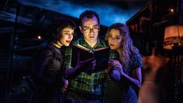 Sophia Anne Caruso as Lydia, Rob McClure as Adam and Kerry Butler as Barbara in Beetlejuice.