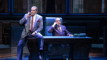 Marc Kudisch as Richard J. Daley and Brian Cox as Lyndon B. Johnson in The Great Society.