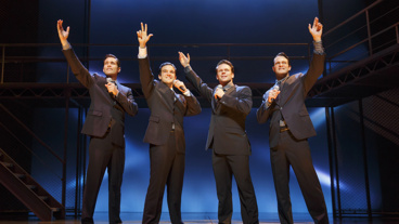 Drew Seeley as Bob, Mark Ballas as Frankie, Nicolas Dromard as Tommy and Matt Bogart as Nick in Jersey Boys.