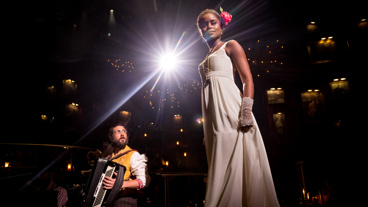 Josh Groban as Pierre and Denée Benton as Natasha in Natasha, Pierre and the Great Comet of 1812.