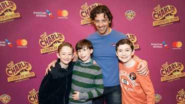 Awww! Christian Borle poses with the Charlies: Ryan Foust, Jake Ryan Flynn and Ryan Sell.