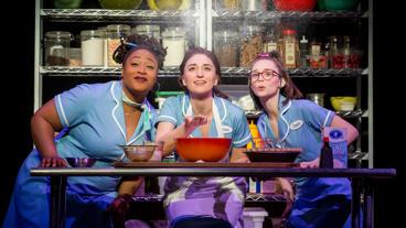 Charity Angel Dawson as Becky, Sara Bareilles as Jenna and Caitlin Houlahan as Dawn in Waitress.