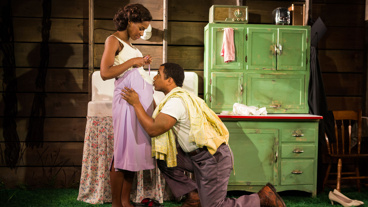 Nneka Okafor as Sally-Mae Carter and Hampton Fluker as Tony Carter in Too Heavy For Your Pocket.
