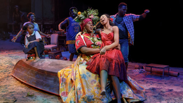 Alex Newell as Asaka and Hailey Kilgore as Ti Moune in Once On This Island.