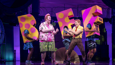 Danny Skinner as Patrick and Ethan Slater as SpongeBob in SpongeBob SquarePants.