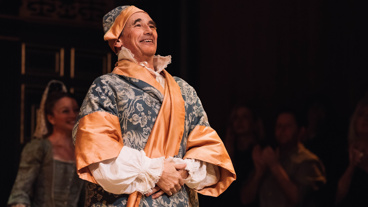 Farinelli and the King star Mark Rylance takes his opening night curtain call.