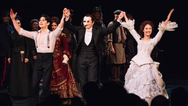 The Phantom of the Opera's Rodney Ingram, Peter Jöback and Ali Ewoldt take their curtain call.
