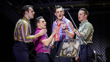 Mark Edwards as Nick Massi, Aaron De Jesus as Frankie Valli, Cory Jeacoma as Bob Gaudio and Nicolas Dromard as Tommy DeVito in Jersey Boys.